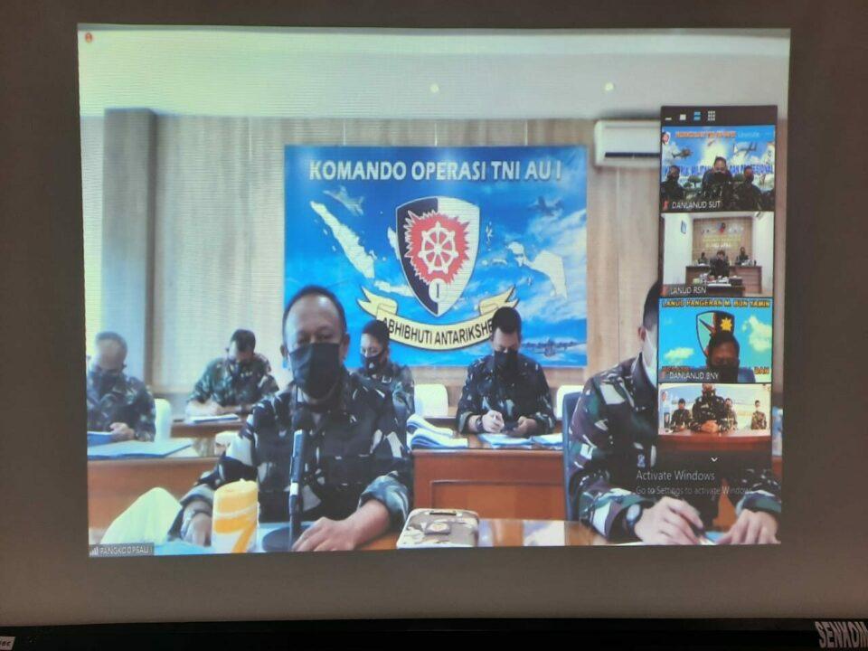 Komandan Lanud Sutan Sjahrir Dan Beberapa Perwira Terkai Ikuti Secara Virtual Penekanan Pangkopsau I