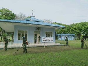 Dalam Rangka Menyambut Hari Jadi Koopsau, Personil Lanud Mus Gelar Kerja Bakti Tempat Ibadah.