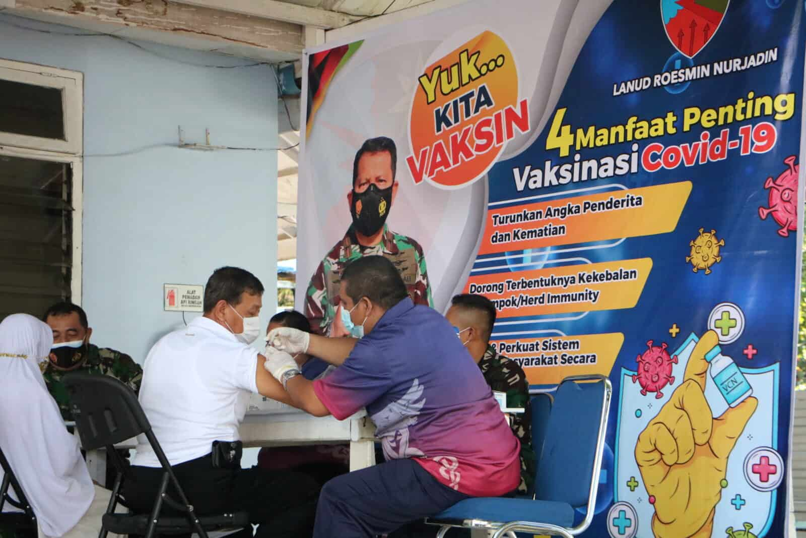 Danlanud Rsn: Tidak Kenal Hari Libur, Lanud Rsn akan Terus Vaksinasi Warga