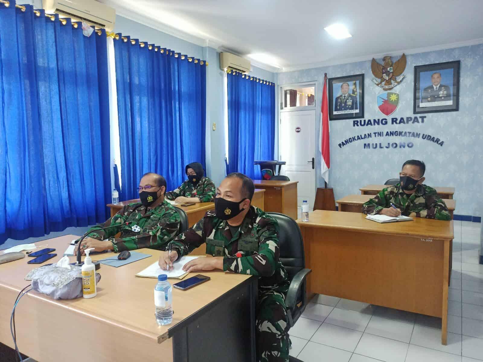 Danlanud Muljono mengikuti Vicon kegiatan rencana PPKM Darurat