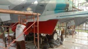 Jelang Hari Bakti TNI AU Ke-74, Lanud Pangeran M. Bun YaminBersih-Bersih Dan Repainting Monumen Pesawat A-4 Skyhawk