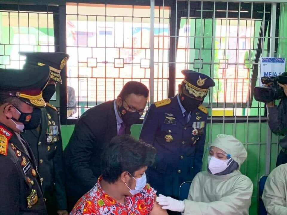 Pangkoopsau I, Bersama Forkompinda DKI Jakarta Canangkan Vaksinasi Pertama untuk Anak di Jakarta