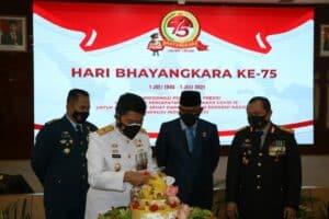 Komandan Lanud Sutan Sjahrir Hadiri Upacara Hari Bhayangkara ke-75 Tahun 2021 Secara Virtual