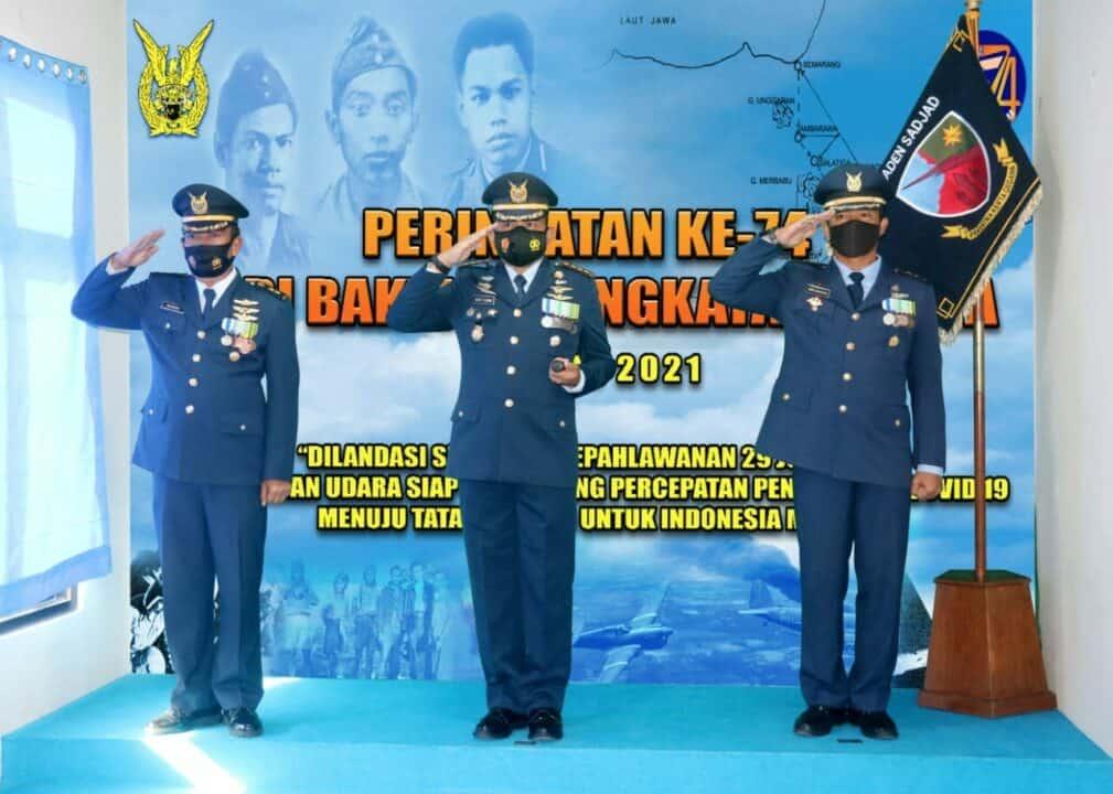 Komandan Lanud Raden Sadjad Ikuti Upacara Hari Bakti TNI AU ke 74 secara Virtual