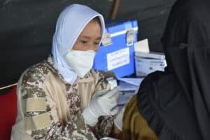 Semangat Serbuan Vaksinasi Covid-19 Lanud Raja Haji Fisabilillah