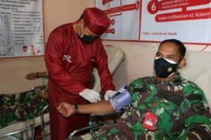 Peringati Hari Bakti TNI AU Ke-74, Personel Lanud Pangeran M. Bun Yamin Donor Darah