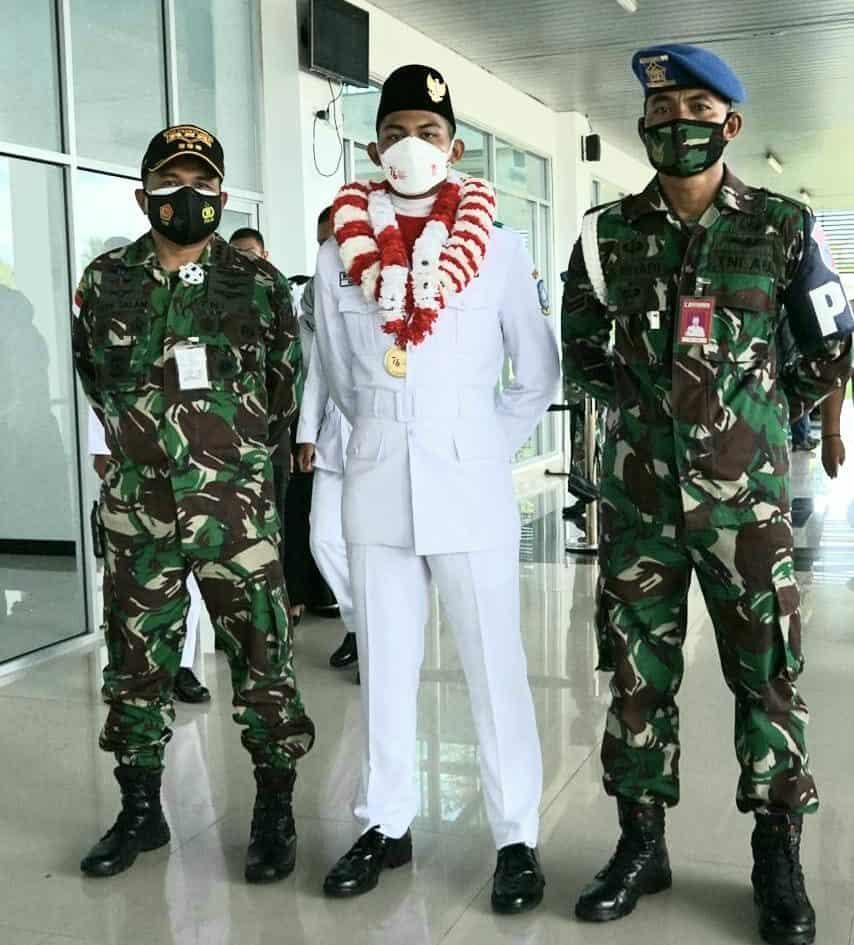 Danlanud Raden Sadjad Sambut Kedatangan Paskibraka Nasional Bintang Erlangga Bagaskoro Asal Natuna
