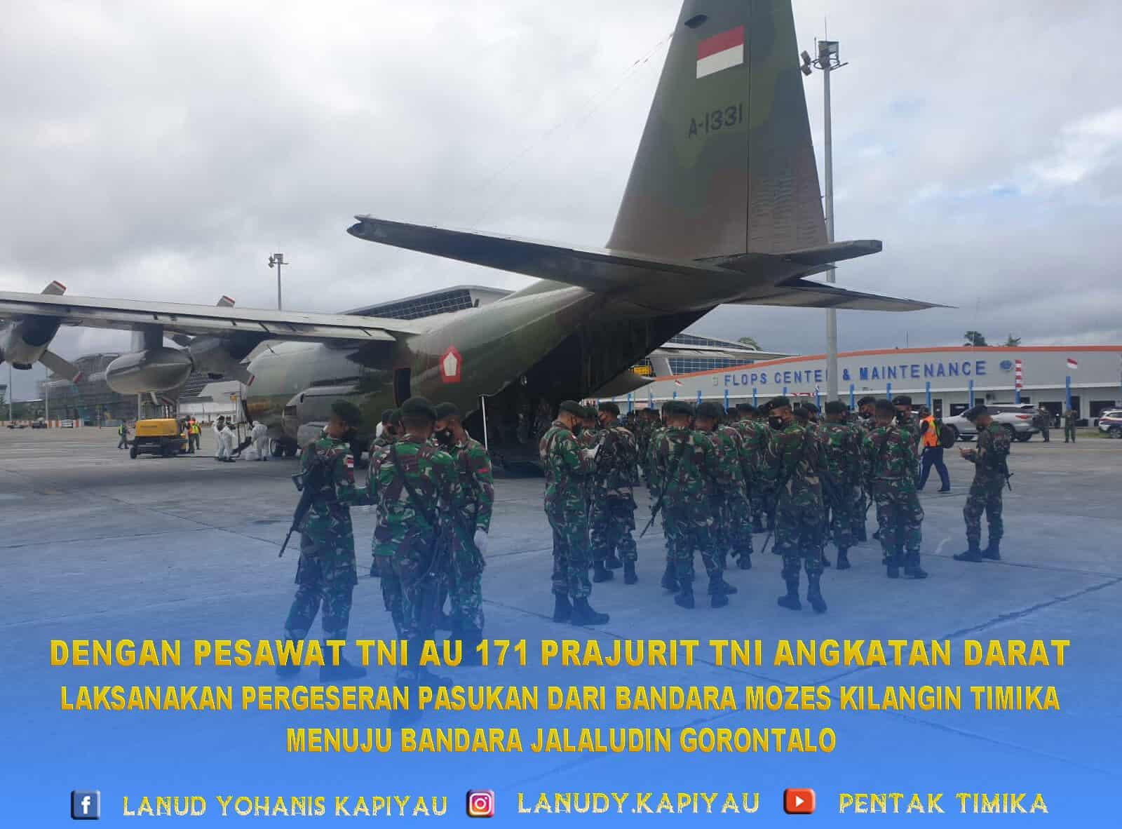 171 prajurit tni angkatan darat melakukan pergeseran menggunakan pesawat tni au