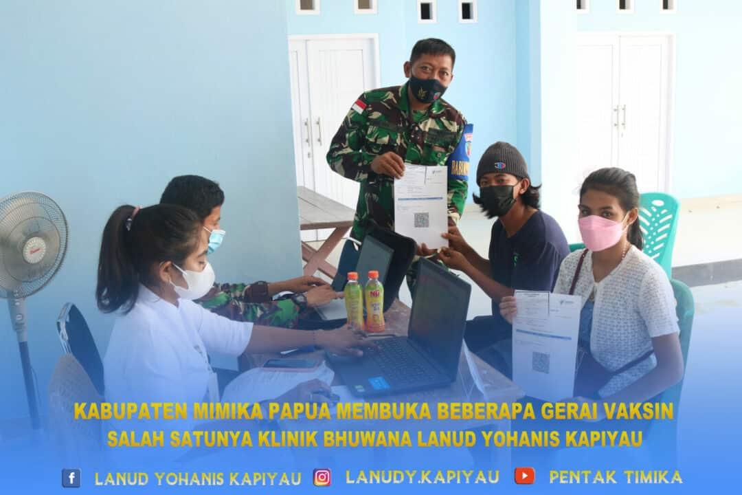 KAB mimika papua membuka gerai vaksin salah satunya klinik bhuwana lanud yku